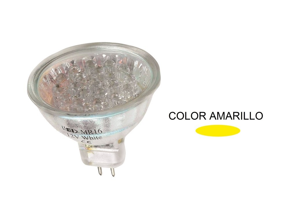 LAMPARA DICROICA LED AMARILLA MR16 1,2W 38º 12V
