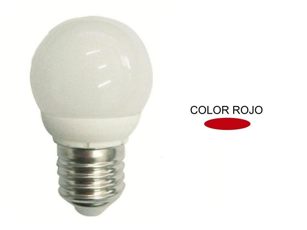 LAMPARA ESFERICA LED ROJA E27 4W 270º 230V
